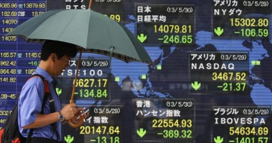 A pedestrian holding an umbrella walks past a stock quotation board showing various countries' stock prices outside a brokerage in Tokyo May 30, 2013. The Nikkei share average fell below 14,000 on Thursday with a drop in U.S. stocks and a stronger yen hurting sentiment, while caution over the recent volatility in the Japanese market is keeping investors risk-averse. REUTERS/Yuya Shino (JAPAN - Tags: BUSINESS) - RTX105LS