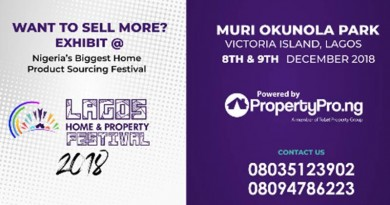 Exhibit @ The Lagos Home & Property Festival, December 8th – 9th, 2018