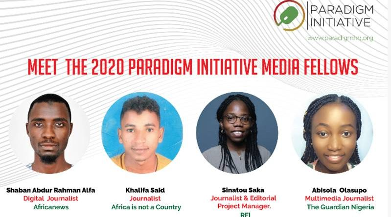 Paradigm Initiative 2020 Digital Rights and Inclusion Media fellows